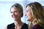 Cynthia Nixon and Laura Linney attends the cast photo call for the Manhattan Theatre Club's New Broadway Production of 'The Little Foxes' at the MTC Rehearsal studios on February 27, 2017 in New York City.