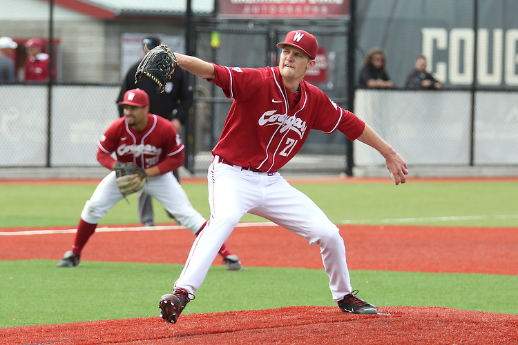 Jason Monda fires to the plate during the Pac-12 Conference tilt between the Washington State Cougars and the Arizona State Sun Devils at Bailey-Brayton Field in Pullman, Washington, on May 24, 2014.  The Cougars defeated the 21st ranked Sun Devils, 10-7.