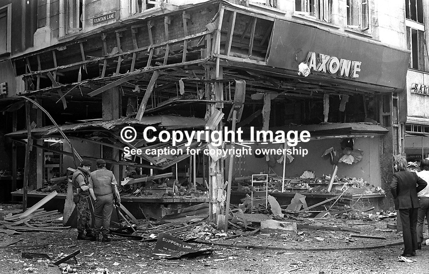 Aftermath of Provisional IRA explosion at Saxone&rsquo;s shoe shop in Donegall Place, Belfast, N Ireland, 6th June 1973. There was considerable damage but no injuries. 197306080385<br />