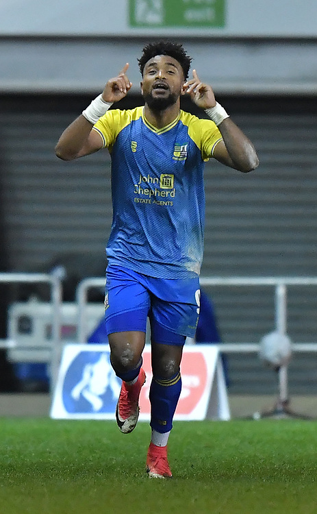Solihull Moors' Adi Yussuf celebrates his second goal of the game, this time from the penalty spot<br /> <br /> Photographer Dave Howarth/CameraSport<br /> <br /> The Emirates FA Cup Second Round Replay - Blackpool v Solihull Moors - Tuesday 18th December 2018 - Bloomfield Road - Blackpool<br />  <br /> World Copyright © 2018 CameraSport. All rights reserved. 43 Linden Ave. Countesthorpe. Leicester. England. LE8 5PG - Tel: +44 (0) 116 277 4147 - admin@camerasport.com - www.camerasport.com