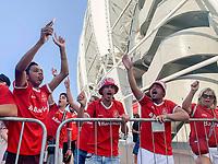 11th February 2020; Beira-Rio Stadium, Porto Alegre, Brazil; Libertadores Cup, Internacional versus Universidad de Chile; Supporters of Internacional show their colours