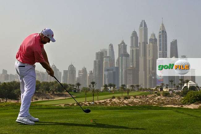 Stephen Gallacher (SCO) on the 8th during Round 2 of the Omega Dubai Desert Classic, Emirates Golf Club, Dubai,  United Arab Emirates. 25/01/2019<br /> Picture: Golffile | Thos Caffrey<br /> <br /> <br /> All photo usage must carry mandatory copyright credit (&copy; Golffile | Thos Caffrey)