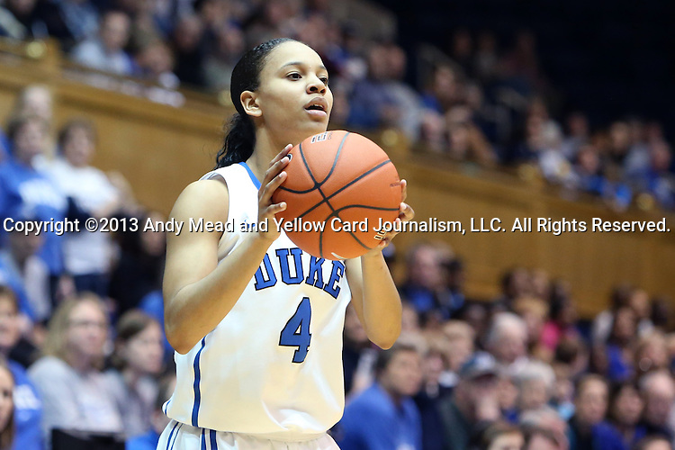 27 January 2013: Duke's Chloe Wells. The Duke University Blue Devils played the Boston College Eagles at Cameron Indoor Stadium in Durham, North Carolina in an NCAA Division I Women's Basketball game. Duke won the game 80-56.