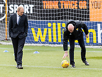 9th February 2020; Indodrill Stadium Alloa, Alloa Clackmannashire, Scotland; Scottish Cup Football, BSC Glasgow versus Hibernian; Referee Alan Newlands inspects wind on the pitch before kick off
