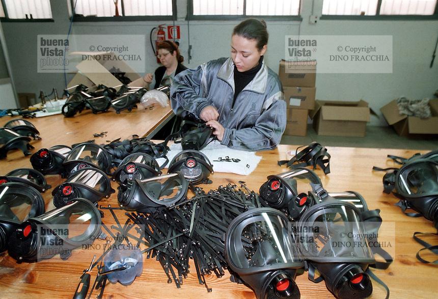- gas masks factory Spasciani in Bollate (Milan)....- fabbrica di maschere antigas Spasciani a Bollate (Milano)