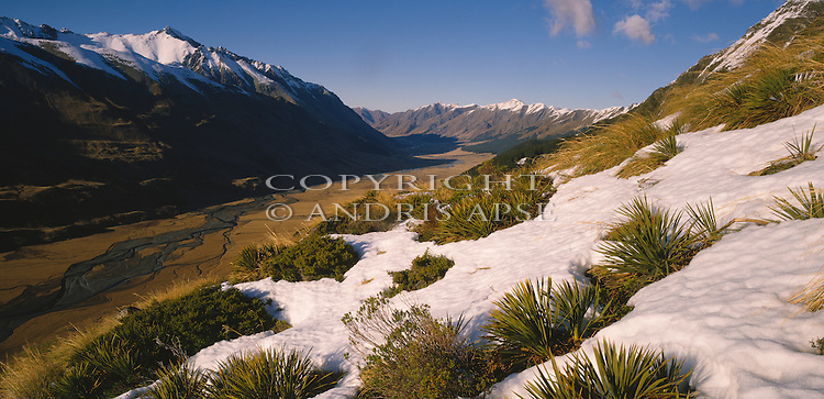 Snow covered vegetation and mountains in the Ahuriri Valley. Canterbury Region. New Zealand.