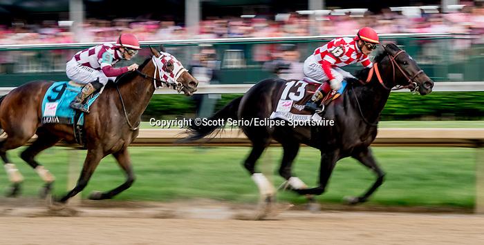 May 3, 2019 : Serengeti Empress, #13, ridden by Jose L Ortiz, wins the Longines Kentucky Oaks on Kentucky Oaks Day at Churchill Downs on May 3, 2019 in Louisville, Kentucky. Scott Serio/Eclipse Sportswire/CSM