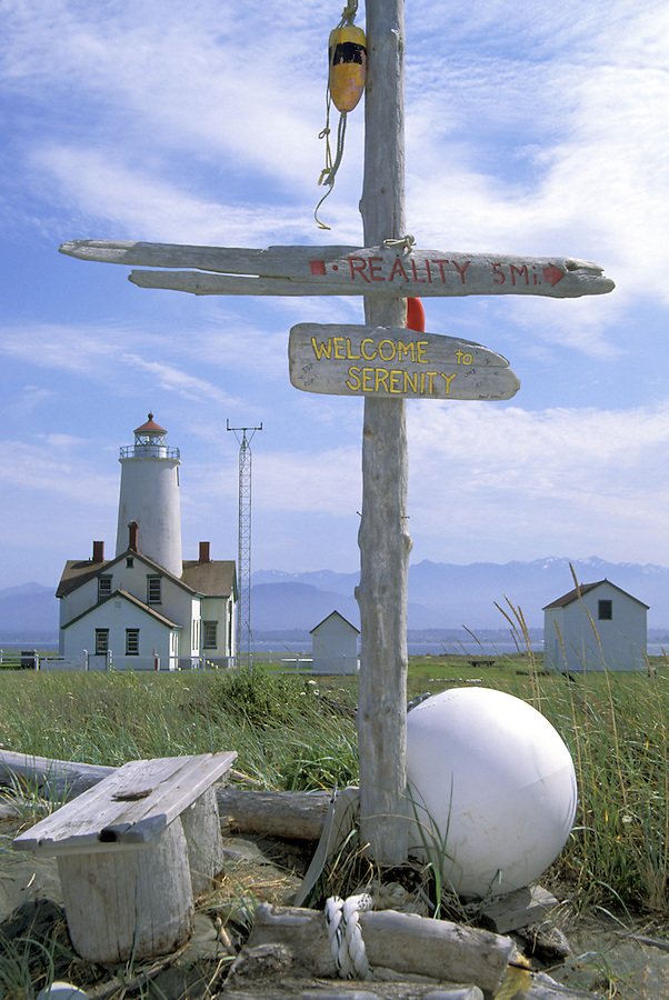 New Dungeness Lighthouse and signs, Dungeness Spit, Dungeness National Wildlife Refuge, Sequim, Washington