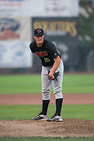 Great Falls Voyagers relief pitcher Chris Comito (19) looks in for the sign during a Pioneer League against the Ogden Raptors at Lindquist Field on August 23, 2018 in Ogden, Utah. The Ogden Raptors defeated the Great Falls Voyagers by a score of 8-7. (Zachary Lucy/Four Seam Images)