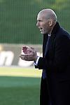 Real Madrid Castilla´s coach Zinedine Zidane and Athletic Club B's Vesga during 2014-15 Spanish Second Division match between Real Madrid Castilla and Athletic Club B at Alfredo Di Stefano stadium in Madrid, Spain. February 08, 2015. (ALTERPHOTOS/Luis Fernandez)