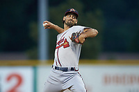 Danville Braves relief pitcher Marrick Crouse (30) in action against the Burlington Royals at Burlington Athletic Stadium on August 9, 2019 in Burlington, North Carolina. The Royals defeated the Braves 6-0. (Brian Westerholt/Four Seam Images)