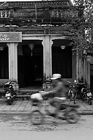 Scooters and motorcycles  in <br />  Hoi An, January, 2017