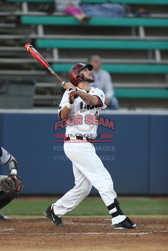 Tanner Donnels (41) of the Loyola Marymount Lions bats during a game against the Gonzaga Bulldogs at Page Stadium on March 27, 2015 in Los Angeles, California. Loyola Marymount defeated Gonzaga 6-5.(Larry Goren/Four Seam Images)