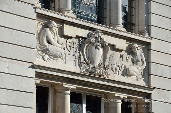 Ornate facade on exterior of Hammersmith Library, London, UK.