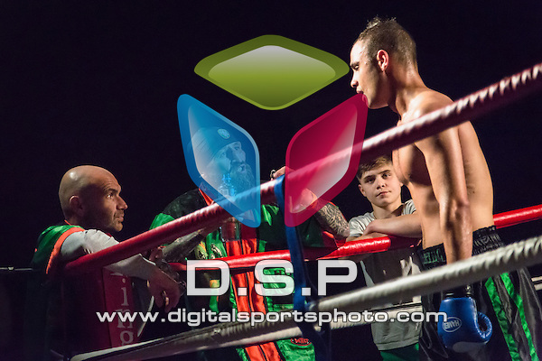 Jon Martin VS Danny Salter. Photo by: Stephen Smith<br /> <br /> Warrior Fight Nights 4 - Sunday 31st May 2014. The Littledown Centre, Bournemouth, Dorset, United Kingdom.