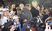 State College, PA - 11/06/2010:  Joe Paterno is honored during a ceremony after the game with his family, school president Graham Spanier, and athletic director Tim Curley.  Despite trailing 21-0 in the first quarter, Penn State defeated Northwestern by a score of 35-21 at Beaver Stadium to give head coach Joe Paterno his 400th career victory...Photo:  Joe Rokita / JoeRokita.com..Photo ©2010 Joe Rokita Photography