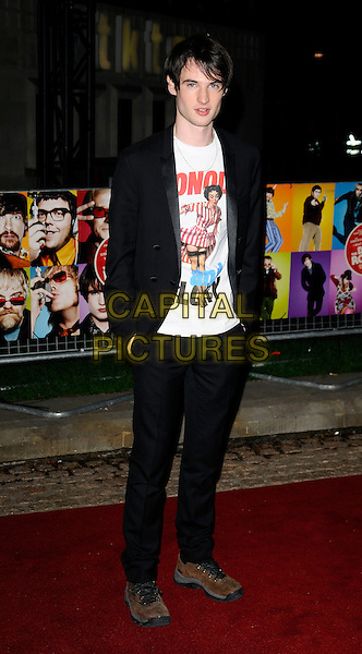 "TOM STURRIDGE.""The Boat That Rocked"" world film premiere at The Odeon, Leicester Square, London, England..March 23rd, 2009.full length black suit jacket white t-shirt woman motif glory slogan blazer hands in pocket.CAP/CAN.©Can Nguyen/Capital Pictures."