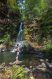 USA, Oregon, Wild and Scenic Rogue River in the Medford District, enjoying the waterfall at Flora Dell Creek