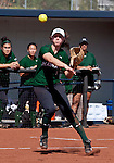 April 20, 2012:  University of Hawai'i Warrior Sarah Robinson throws to first against the Nevada Wolf Pack during their NCAA softball game played at Christina M. Hixson Softball Park on Friday in Reno, Nevada.