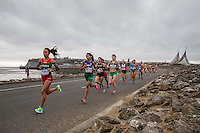 The elite women's field run over Cardiff Bay Barrage during the IAAF World Half Marathon Championships 2016 in Cardiff, Wales on 26 March 2016. Photo by Mark  Hawkins / PRiME Media Images.