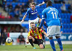 St Johnstone v Partick Thistle...28.09.13      SPFL<br /> Stevie May is blocked by Stephen O&quot;Donnell<br /> Picture by Graeme Hart.<br /> Copyright Perthshire Picture Agency<br /> Tel: 01738 623350  Mobile: 07990 594431
