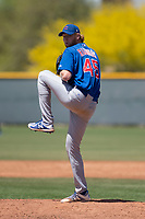 Chicago Cubs relief pitcher Stephen Ridings (45) prepares to deliver a pitch during an Extended Spring Training game against the Colorado Rockies at Sloan Park on April 17, 2018 in Mesa, Arizona. (Zachary Lucy/Four Seam Images)