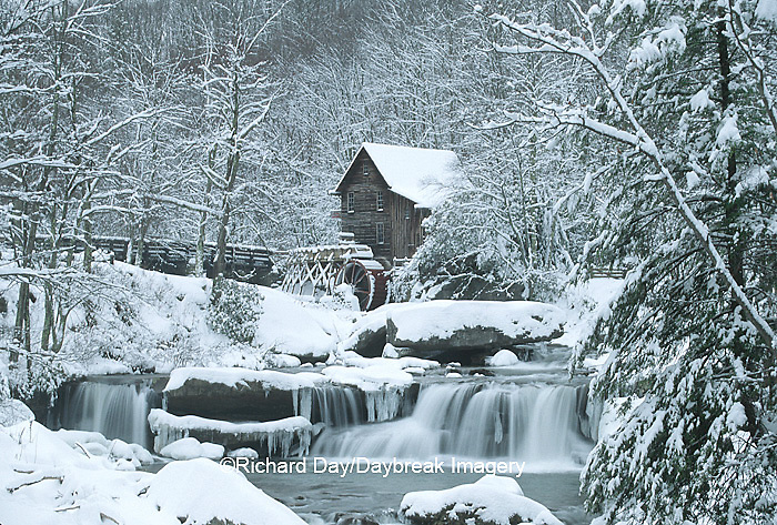 67395-02712 Glade Creek Grist Mill in winter Babcock State Park   WV