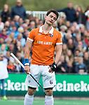 BLOEMENDAAL   - Hockey - Tim Swaen (Bldaal)  strafcorner.    3e en beslissende  wedstrijd halve finale Play Offs heren. Bloemendaal-Amsterdam (0-3).     Amsterdam plaats zich voor de finale.  COPYRIGHT KOEN SUYK