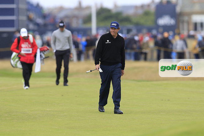 Phil Mickelson (USA) walks to the 2nd green during Saturday's Round 3 of the 145th Open Championship held at Royal Troon Golf Club, Troon, Ayreshire, Scotland. 16th July 2016.<br /> Picture: Eoin Clarke | Golffile<br /> <br /> <br /> All photos usage must carry mandatory copyright credit (&copy; Golffile | Eoin Clarke)