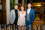 L-R Ben Eathen, Julia Allard and Brendan Pipper all from Tralee pictured at the Miss Kerry 2016 in the Brehon hotel, Killarney last Saturday night.