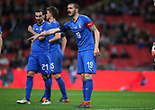 27th March 2018, Wembley Stadium, London, England; International Football Friendly, England versus Italy; Leonardo Bonucci of Italy shouting instructions to his players at a free kick