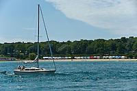 15-16 August 2008  Formula Weekend, Charlevoix, Michigan.Sailboat and cabanas on Lake Charlevoix...©F.Peirce Williams 2008.F. Peirce Williams .photography.P.O.Box 455 Eaton, OH 45320.p: 317.358.7326  e: fpwp@mac.com.
