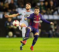 Celta de Vigo's Sergi Gomez (l) and FC Barcelona's Jose Arnaiz during Spanish Kings Cup match. January 4,2018. (ALTERPHOTOS/Acero)