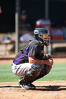 Colorado Rockies Dom Nunez (5) during an Instructional League game against the Los Angeles Angels of Anaheim on October 6, 2016 at the Tempe Diablo Stadium Complex in Tempe, Arizona.  (Mike Janes/Four Seam Images)