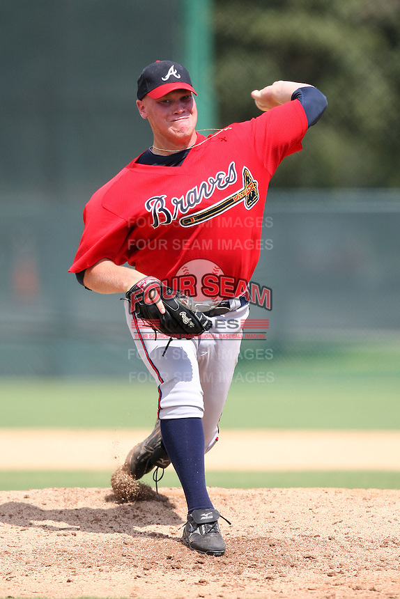October 6, 2009:  Pitcher Brett Oberholtzer of the Atlanta Braves organization delivers a pitch during an Instructional League game at Disney's Wide World of Sports in Orlando, FL.  Oberholtzer was drafted in the 8th round of the 2008 MLB Draft.  Photo by:  Mike Janes/Four Seam Images