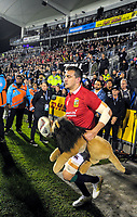 Lions captain Sam Warburton leads his team out for the 2017 DHL Lions Series rugby union match between the NZ Provincial Barbarians and British & Irish Lions at Toll Stadium in Whangarei, New Zealand on Saturday, 3 June 2017. Photo: Dave Lintott / lintottphoto.co.nz