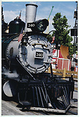 A close-up view of the smokebox area of D&amp;RGW #340 at Knott's Berry Farm.<br /> D&amp;RGW  Buena Park, CA  Taken by Dorman, Richard L. - 8/13/2003