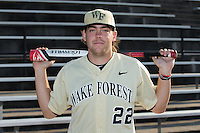 Will Craig (22) of the Wake Forest Demon Deacons poses for a photo prior to the game against the UConn Huskies at Wake Forest Baseball Park on March 17, 2015 in Winston-Salem, North Carolina.  The Demon Deacons defeated the Huskies 6-2.  (Brian Westerholt/Four Seam Images)