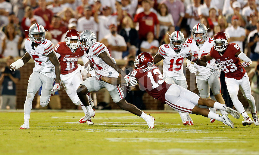 Ohio State Buckeyes wide receiver Parris Campbell (21) against Oklahoma Sooners at Oklahoma Memorial Stadium on September 17, 2016 in Norman, Oklahoma.  (Kyle Robertson/ The Columbus Dispatch)