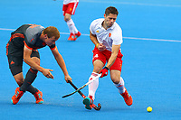 Netherlands Floris Wortelboer and Englands Mark Gleghorne compete for the ball during the Hockey World League Semi-Final match between England and Netherlands at the Olympic Park, London, England on 24 June 2017. Photo by Steve McCarthy.