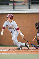 Luke Smierciak (10) of the Florida State Seminoles follows through on his swing versus the Wake Forest Demon Deacons at Gene Hooks Stadium on the campus of Wake Forest University in Winston-Salem, NC, Friday, March 28, 2008.