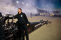 Jul 26, 2019; Sonoma, CA, USA; Crew member for NHRA top fuel driver Mike Salinas during qualifying for the Sonoma Nationals at Sonoma Raceway. Mandatory Credit: Mark J. Rebilas-USA TODAY Sports