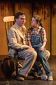 """25/06/2015. London, UK. Robert Sean Leonard as Atticus Finch and Ava Potter as Scout. Photocall for """"To Kill a Mockingbird"""" at the Barbican Theatre with Robert Shean Leonard as Atticus Finch and Ava Potter as Scout.  The Regent's Park Open Air Theatre production directed by Timothy Sheader will be at the Barbican from 24 June to 25 July 2015. Adapted for the stage by Christopher Sergel based on the novel by Harper Lee."""