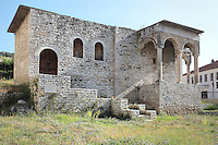 Haremlik or women's quarters of the former Ottoman palace of the Pasha of Berat, Mangalem quarter, Berat, South-Central Albania, capital of the District of Berat and the County of Berat. Until 1945, the sera or palace stretched South and East of the Mangalem Quarter, but this is the only building remaining. In July 2008, the old town (Mangalem) was listed as a UNESCO World Heritage Site. Picture by Manuel Cohen