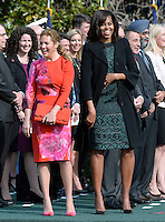 First Lady Michelle Obama and Mrs. Sophie Gregoire Trudeau share a laugh during a ceremony at the White House for an Official Visit March 10, 2016 in Washington, D.C. Photo Credit: Olivier Douliery/CNP/AdMedia