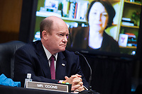 """United States Senator Chris Coons (Democrat of Delaware), and United States Senator Amy Klobuchar (Democrat of Minnesota), are seen during the Senate Judiciary Committee hearing titled """"Examining Best Practices for Incarceration and Detention During COVID-19,"""" in Dirksen Building in Washington, D.C. on Tuesday, June 2, 2020.<br /> Credit: Tom Williams / Pool via CNP/AdMedia"""