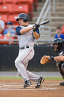 Darin Holcomb (8) of the Asheville Tourists follows through on his swing versus the Hickory Crawdads at L.P. Frans Stadium in Hickory, NC, Wednesday, May 21, 2008.