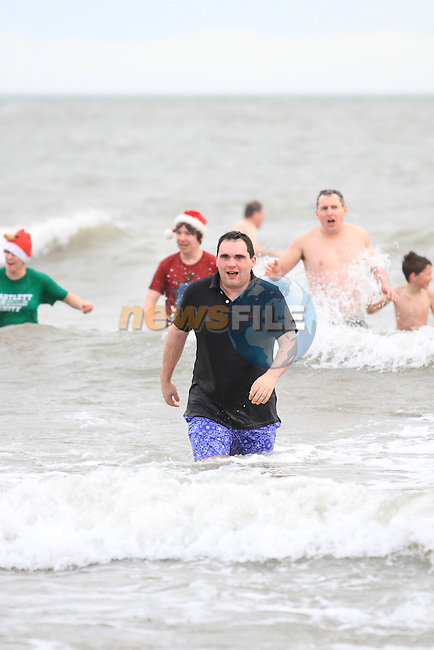 Mayor Kevin Callan at the Stephens Day Swim at Clogherhead Beach...(Photo credit should read Jenny Matthews www.newsfile.ie)....This Picture has been sent you under the conditions enclosed by:.Newsfile Ltd..The Studio,.Millmount Abbey,.Drogheda,.Co Meath..Ireland..Tel: +353(0)41-9871240.Fax: +353(0)41-9871260.GSM: +353(0)86-2500958.email: pictures@newsfile.ie.www.newsfile.ie.