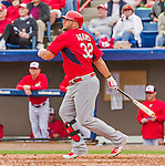 7 March 2015: St. Louis Cardinals first baseman Matt Adams in Spring Training action against the Washington Nationals at Space Coast Stadium in Viera, Florida. The Cardinals fell to the Nationals 6-5 in Grapefruit League play. Mandatory Credit: Ed Wolfstein Photo *** RAW (NEF) Image File Available ***