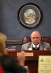 Nevada Sen. Joe Hardy, R-Boulder City, works in committee at the Legislative Building in Carson City, Nev., on Wednesday, Feb. 25, 2015. <br /> Photo by Cathleen Allison